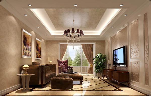 在客厅顶面上运用艺术涂料,为整体设计起到提亮整体的一个效果。射灯打在壁纸上的有些浪漫的情调,而沙发处菱形拼花充当了避免整体轻飘飘的角色。