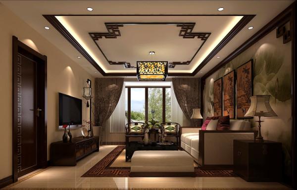 中式风格的客厅 具有内蕴的风格,为了舒服,中式的环境中也常常用到沙发,但颜色仍然体现着中式的古朴, 节奏,显出大家风范,其墙壁上的字画无论数量还是内容都不在多,而在于它所营造的意境。