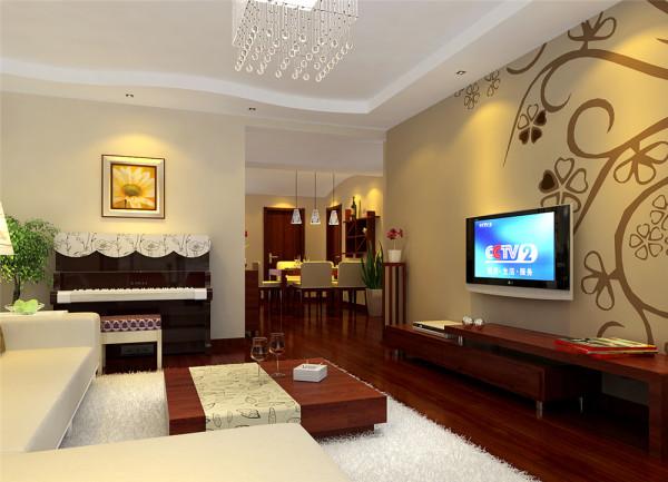 本案以简约风格为主要特征,红木色和米黄色为主色调,用红色实木地板满铺客厅和卧室,给人一种温馨舒适的感觉,在冬天里红色是给人很温暖的色系之一。