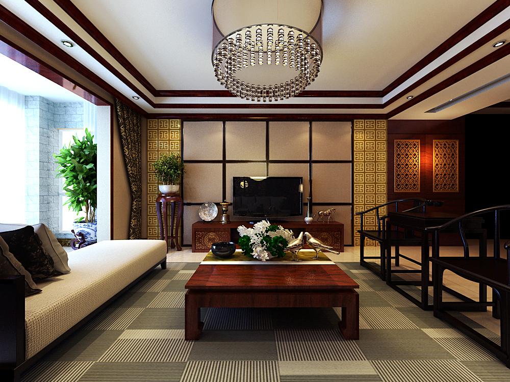三居室 新中式 效果图 客厅图片来自石家庄业之峰装饰虎子在天山熙湖138平米新中式风格案例的分享