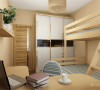 咖啡色的双人床,灰色的壁纸和木质的床头柜,现代风格的台灯,给业主创造了一个舒适的放松休闲的空间。次卧的深木色衣柜,原木色电脑桌,深色地板,还有榻榻米,更是创造了一个舒适的放松休闲的空间。