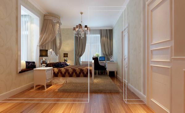 次卧中,纱幔以及窗帘的连续性和形体变化的层次感让室内充满华美厚重的气氛,体现出居住人追求品质典雅的生活,视生活为艺术的人生态度。