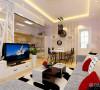 厅与餐厅是整个在一个空间的格局。通过沙发背景墙等装饰,使整个家庭色调精彩。