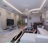 客厅沙发为浅色布料材质,深色的地毯有效较低了视觉重心,重色的抱枕既呼应了地毯,又丰富了色彩。