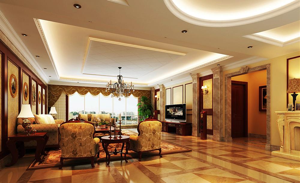 别墅装修 别墅设计 尚层装饰 北京尚层 棕榈泉别墅 客厅图片来自尚层装饰袁园在棕榈泉美式风格别墅设计图的分享