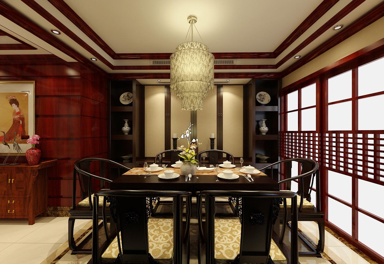 三居室 新中式 效果图 餐厅图片来自石家庄业之峰装饰虎子在天山熙湖138平米新中式风格案例的分享
