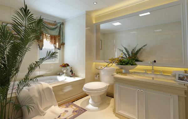 """卫生间与整体空间色调一致,突出""""简""""之格调,浴室镜面使空间变大,层次感分明,镜面后的灯带给整个空间增添了浪漫的氛围。置身浴缸之中,卸下一天的疲劳,点燃一盏爱的烛光,品尝一杯红酒,闭眼体味家的故事。"""