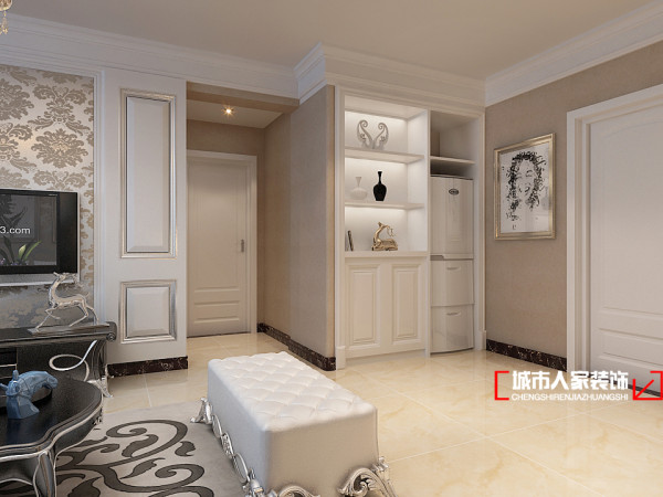 客厅的采用银色背景金色花纹壁纸,客厅里多了淡淡的奢华感。