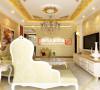 淡黄色的沙发让整个空间在奢侈中带着些许温馨感,窗边的贵妃椅为整个空间增加了点点柔情,沙发背景墙后的花朵油画为整个客厅增加了一些清新感。