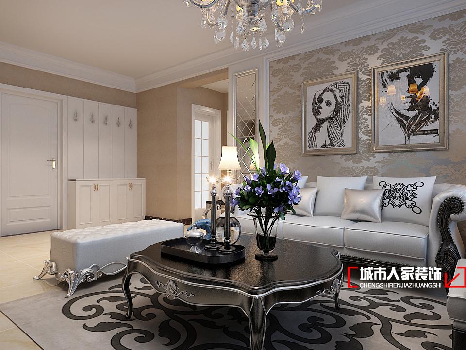 欧式 二居 白领 舒适 小资 客厅图片来自石家庄装修装饰设计公司在熙园B-1-**1 110平简欧的分享