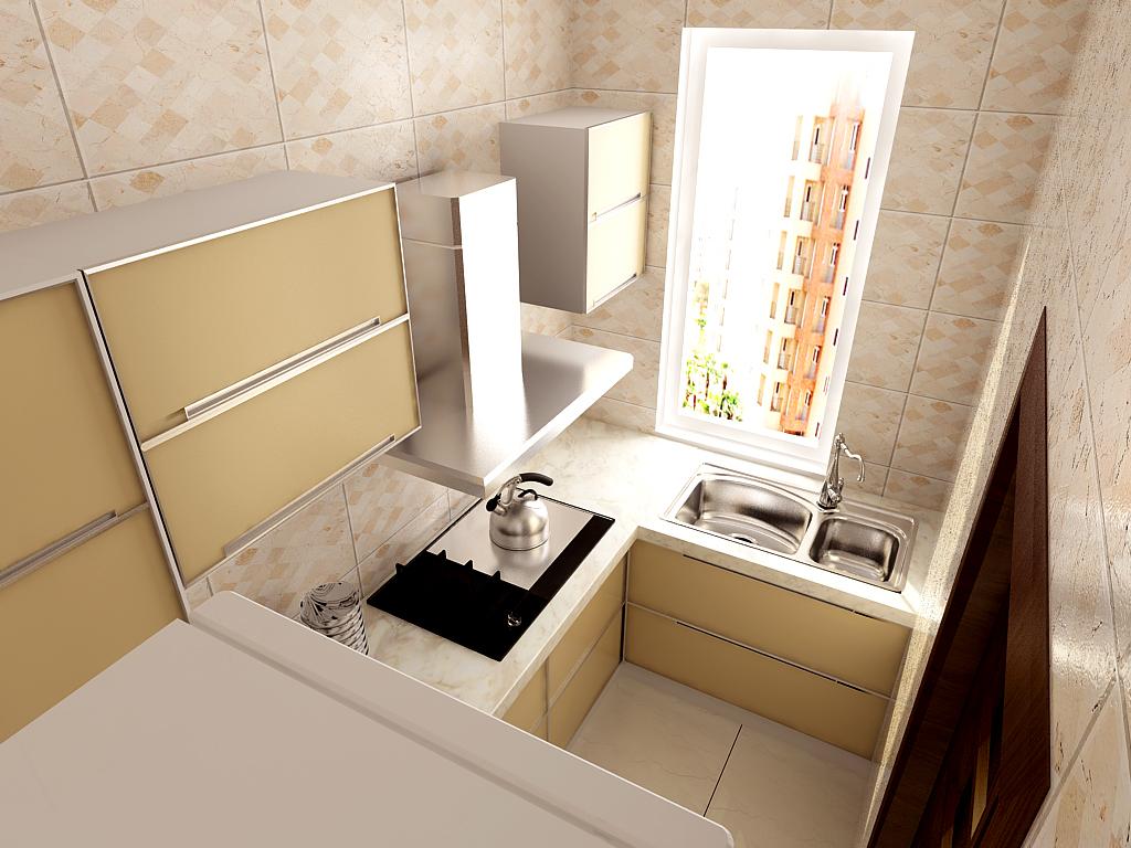 小户型装修 厨房效果图 百家装饰 克莱枫丹 厨房图片来自张竟月在克莱枫丹66平精致小户型的分享