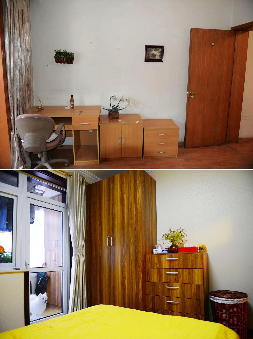 简约 二居 旧房改造 收纳 80后 今朝装饰 卧室图片来自北京老房装修-今朝装饰王丽在老房翻新前后对比的分享