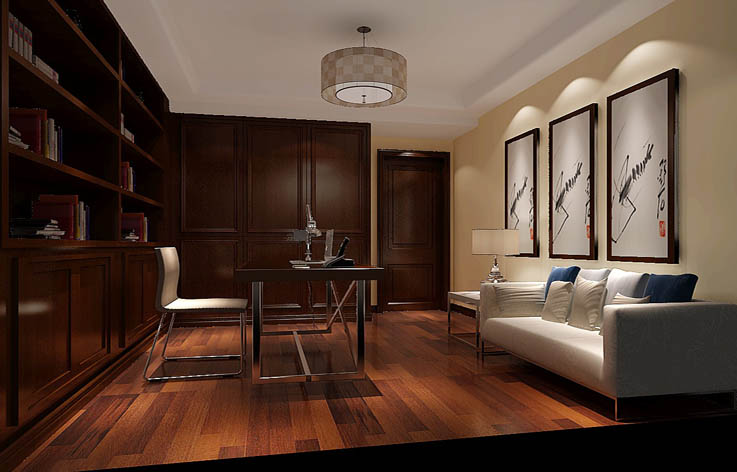 简约 书房图片来自高度国际宋书培在北京城建·琨廷三居室装饰效果图的分享