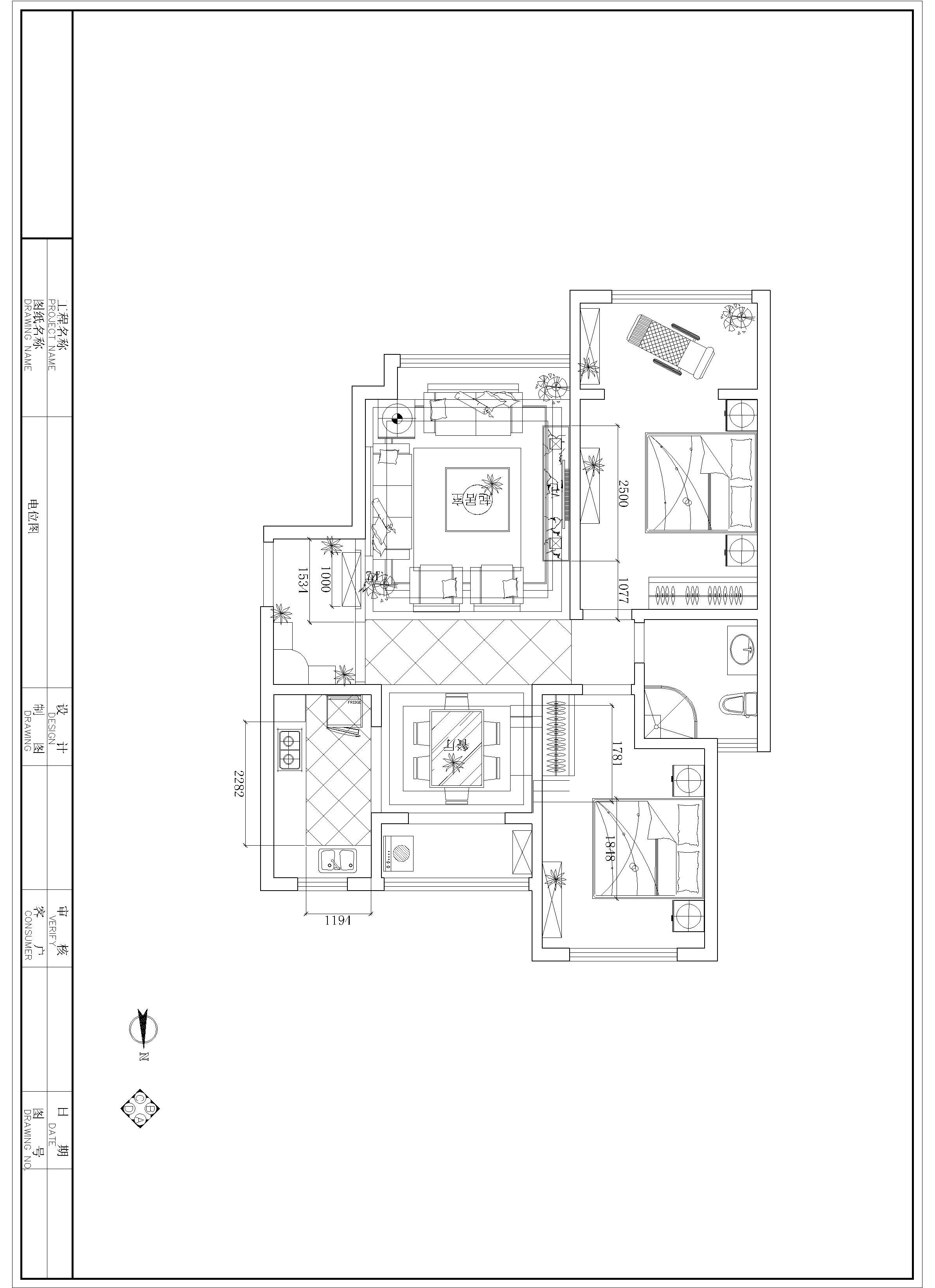 欧式 二居 客厅 卧室 沙发 户型图图片来自石家庄装修装饰设计公司在国赫红珊湾110平欧式的分享