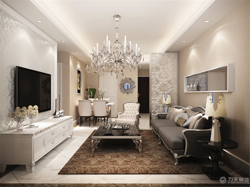 欧式 二居 白领 收纳 简约 80后 小资 客厅图片来自阳光力天装饰在美震瑞景时代-79㎡-简欧风格的分享