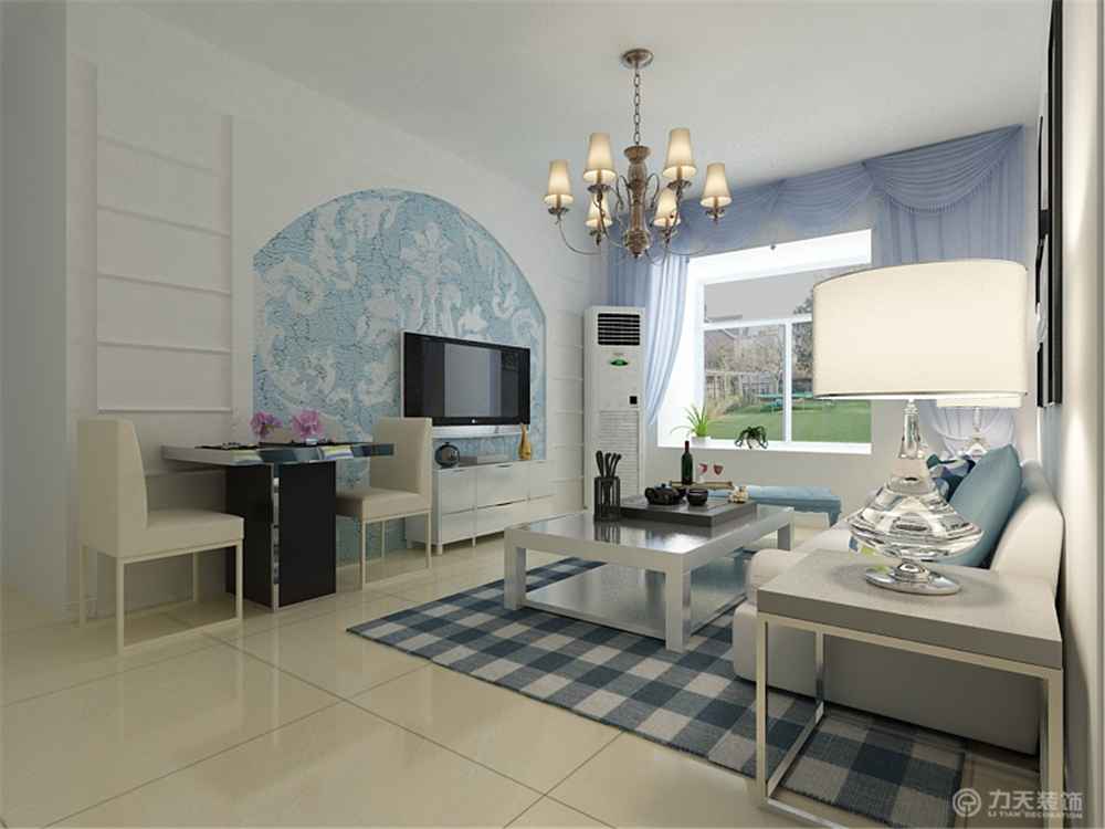 地中海 二居 白领 收纳 80后 小资 客厅图片来自阳光力天装饰在瑞晨家园-91㎡-地中海的分享