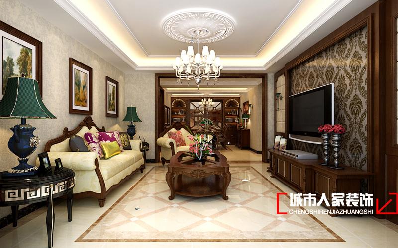 美式 三居 混搭 白领 80后 客厅图片来自石家庄装修装饰设计公司在东胜紫御府B户型179平美式的分享
