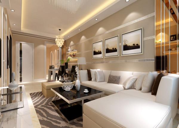 客厅 创意沙发背景 客厅吊顶做了一圈灯池呼应沙发背景墙,用不同形式的吊灯区分生活区域,不仅使整个空间统一,而 且功能分区明确。