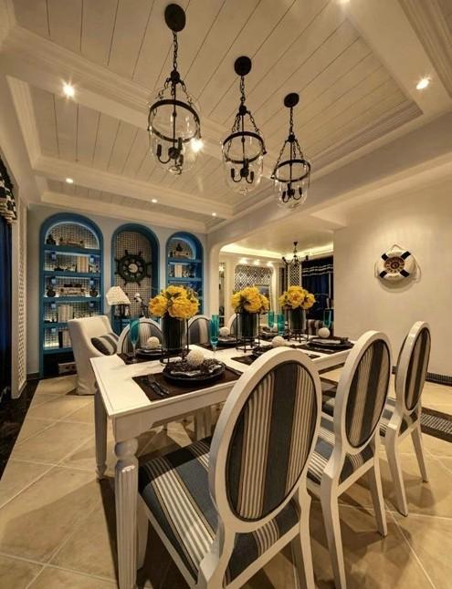 中海寰宇 百家装饰 地中海风格 半包装修 餐厅图片来自张竟月在中海寰宇145平地中海风格的分享