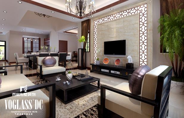 别墅 客厅图片来自天津尚层装修韩政在175㎡联排别墅新中式的分享