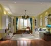 客厅以暖色硅藻泥与木质顶面相结合,整个空间呈现出典雅、休闲、舒适的氛围;