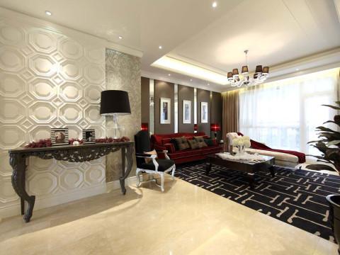 首先客厅在硬装修上面非常简单,顶面简单是石膏板吊顶进行了空间划分,一个主灯周围搭配辅灯。沙发背景咖啡色软装饰搭配镜面再搭配新古典沙发突显高贵和奢华的气质。