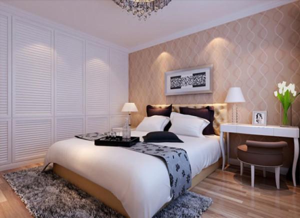 卧室 简单大方而不失浪漫 设计理念:灰色的地毯和床品延续了灰色的主旋律,白色的床套营造了一种清透的感觉,与 条纹纹理的壁纸形成鲜明对比,一组白色的衣柜让空间简约不失浪漫,而是别有一番韵味。