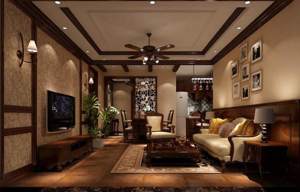 因为客厅仿古地砖的应用使居所有种岁月的沉积感,木梁上顶的手法使整体设计更加和谐