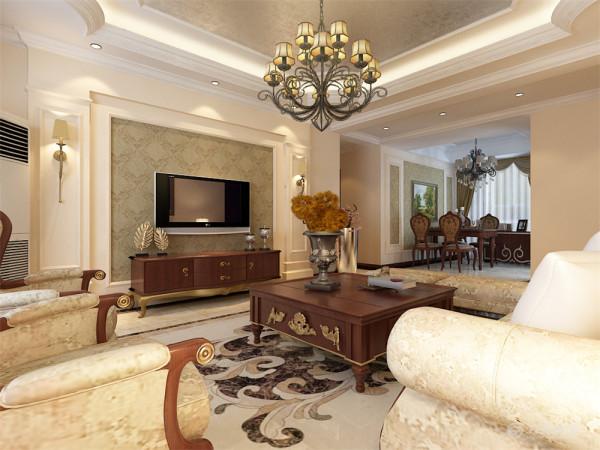 该户型路劲太阳城三室两厅两卫一厨141平米,设计风格是简欧风格,整体以暖色调为主。