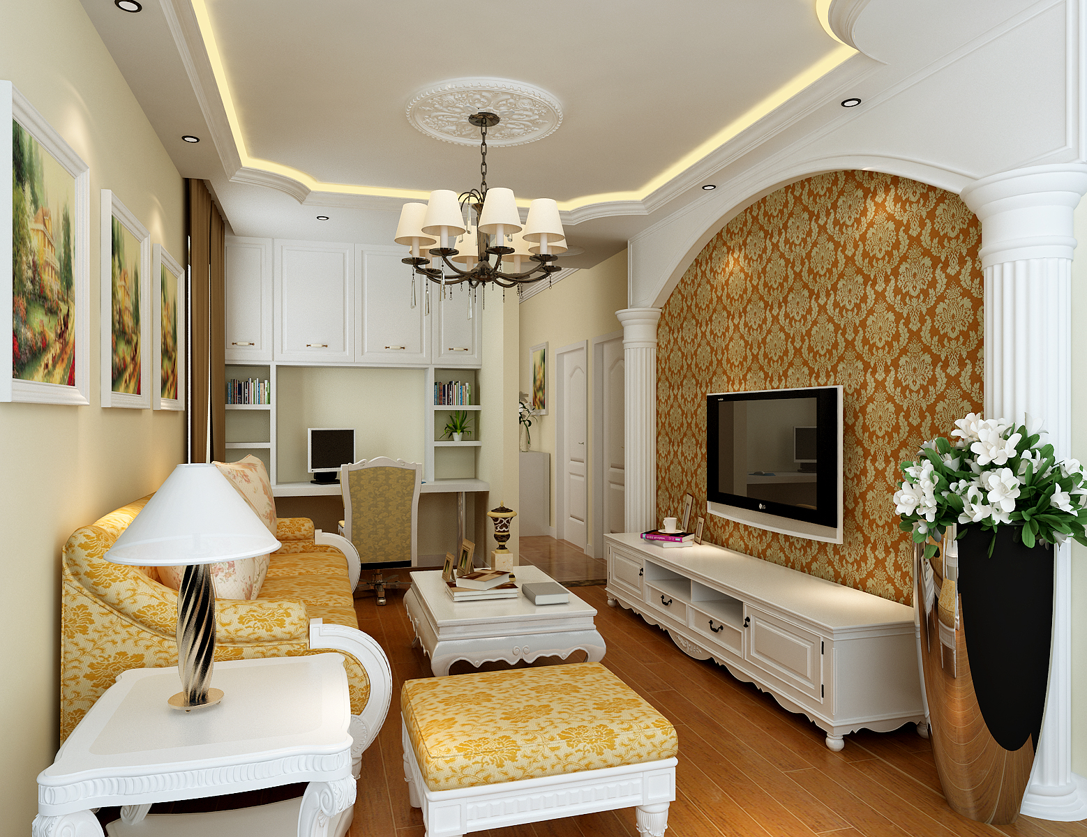 欧式 混搭 白领 收纳 客厅图片来自合肥实创装饰李东风在小户型也可以装修欧式的分享