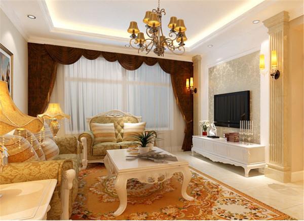 客厅主要以白色为主色调,简单的线条造型顶和米黄色的罗马柱勾勒出温馨的生活氛围。