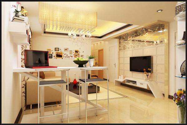 户主要求将客厅的功能能够多样化,休闲、办公、娱乐为一体,同时还要兼具书房的功能。于是我便充分利用空间,对空间进行划分,尽可能满足户主的需求。