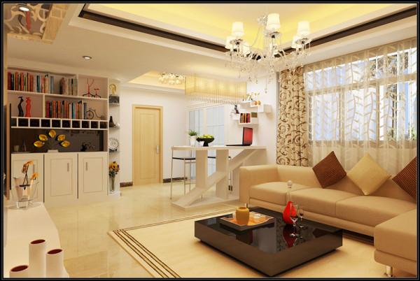 休闲区-独具匠心的展示柜设计和吧台设计,兼具实用和装饰的效果,在整个环境中其实助于一个亮点,将原本平淡的空间变得充满活力。