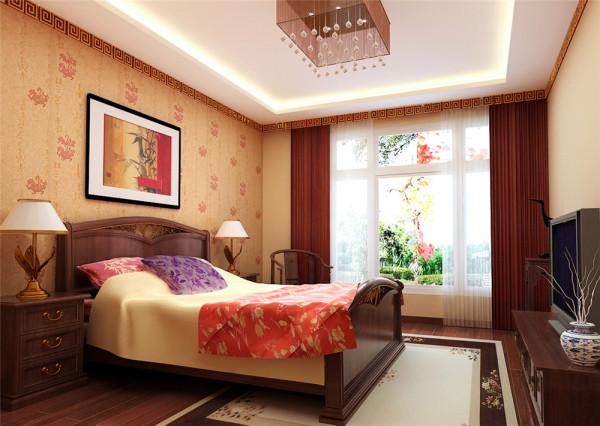 硬朗的直线条、中式的沙发,地面的地毯民族拼花装饰品及黑、红为主的装饰色彩上。室内多采用对称式的布局方式,格调高雅,造型简朴优美,色彩浓重而成熟。