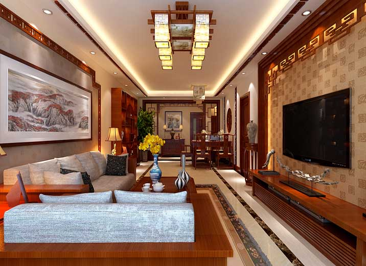 大户型 四居 新中式 客厅图片来自实创装饰晶晶在大华诺斐湾160平新中式三口之家的分享
