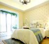 柔软舒适的床品,浅色碎花墙纸,再搭配海蓝色的地毯,将卧室阳台打通,光线透过落地窗投入室内,显得更加清爽、舒适,打造完美的卧室空间。