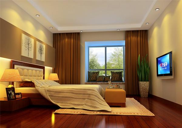 灯光造型的立体化应用等表现手法,营造了温馨柔和、独具浪漫主义情怀的卧室空间。 亮点:床头背景墙设计上更多运用了点、线、面等要素形式美的基本原则,使造型和谐统一而富于变化。