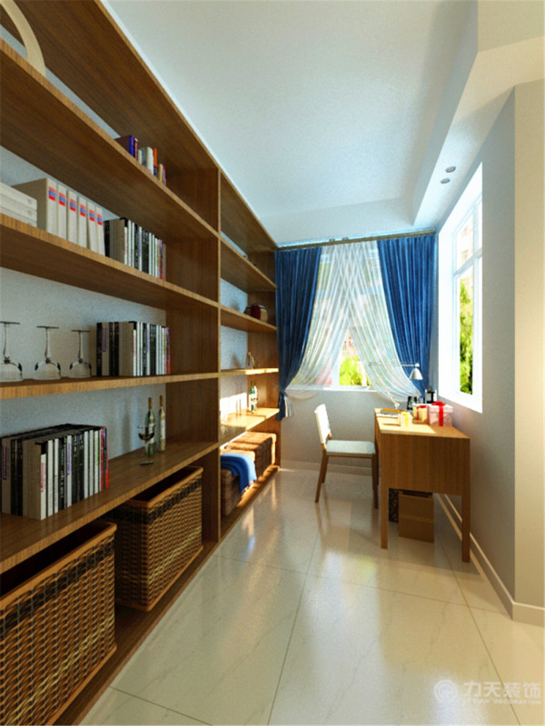 在做为书房使用的部分,正面墙壁打了木色的书柜,简单使用,增加了储存空间,木色让书柜与整个空间融为一体,自然不突兀。在入户门的旁边设置了吧台,给业主提供了休闲娱乐的空间。