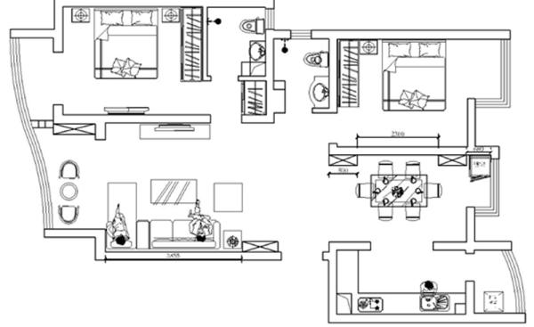本案为两室两厅户型,房子的面积比较宽广,两个卧室的面积和采光度都十分宽阔,房子的布局也很合理,每个空间都带着小阳台,有些空间因为使用性质不同,阳台空间得不到合理的利用,有些浪费。