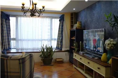客厅,小却很温馨的空间,格子元素搭配美式风情