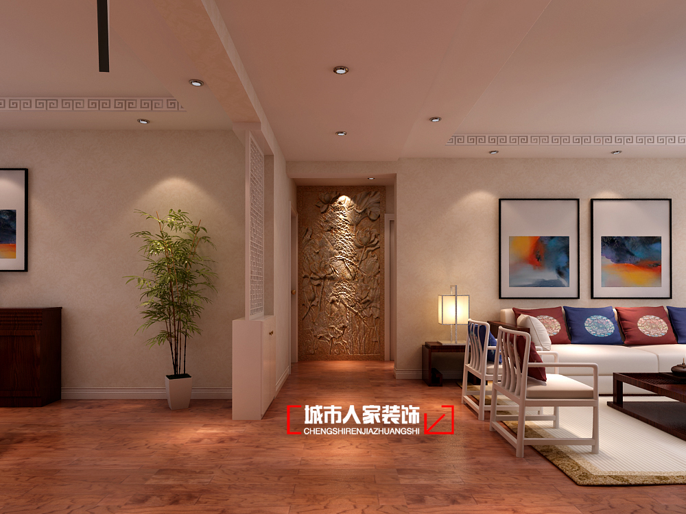 中式 三居 舒适 卧室 客厅 餐厅 玄关图片来自石家庄装修装饰设计公司在万信花园160平新古典的分享