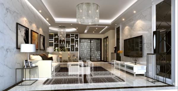 设计理念:本案户型客厅运用虚实结合的方法,整个空间色调以黑白为主,稳重大气、品位高雅、对比平衡、对称呼应,色调与整体环境和谐统一。
