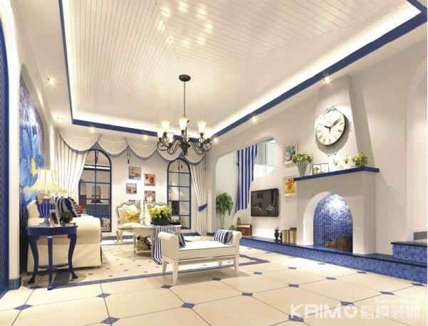 整个客厅的设计采用地中海风格使得空间看起来很宽敞 采光也很好