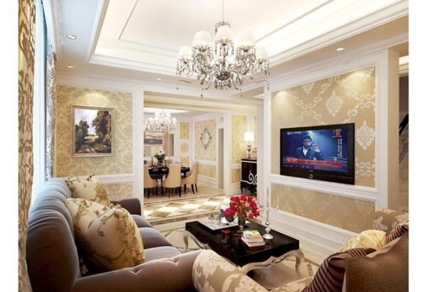 空间以暖色调为主,壁纸与护墙的搭配营造出典雅、自然、高贵的气质。开敞式的设计使空间生动而不呆板,整体给人简洁、明亮、大气的感觉,布艺沙发又给空间增添了一抹温暖的气息。