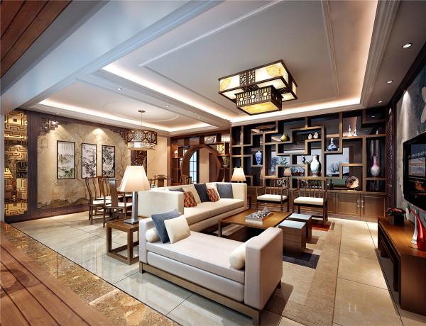 接待客人的域,整个别墅的划分相对接待客人的区域在风格上更上的中国化,复古的多功能收纳空间及可做酒柜又可做装饰古董,复古家具与布艺舒适度极好的沙发混搭使整个新中式风格更突显。