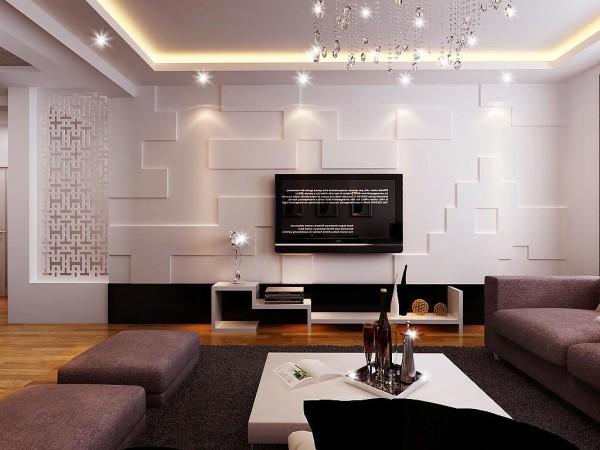 水晶灯和水晶帘子形成很好的呼应,让整个客厅显得有些小惬意,深灰沙发地毯和白色小方桌进行强烈的时尚感,吊顶简洁明快的现代风格,让房间显的更加宽阔。这是电视墙正面的效果。设计师:朱杰 案例公司:四川筑梦空间装饰工程有限公司