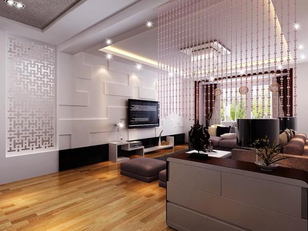 电视墙造型采用不规则图案,让层次感更加强烈,更加时尚。客厅光线充足,躺在沙发上优闲的喝杯茶很是惬意。水晶帘子用于装饰,另外更好的效果是把客厅起到一个很好的隔断作用,显的布局更加精致。设计师:朱杰 案例公司:四川筑梦空间装饰工程有限公司