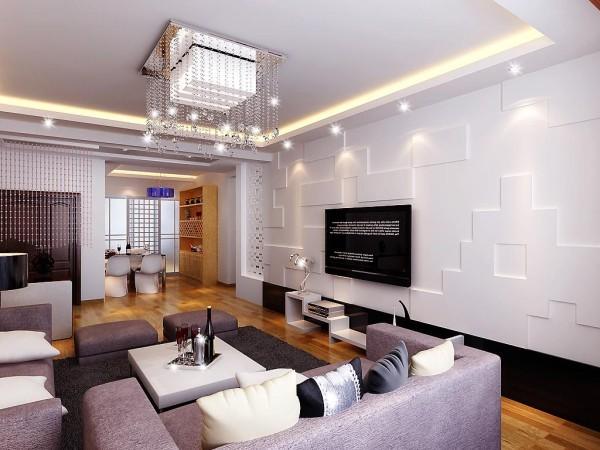 水晶灯和水晶帘子形成很好的呼应,让整个客厅显得有些小惬意,深灰沙发地毯和白色小方桌进行强烈的时尚感,吊顶简洁明快的现代风格,让房间显的更加宽阔。设计师:朱杰 案例公司:四川筑梦空间装饰工程有限公司