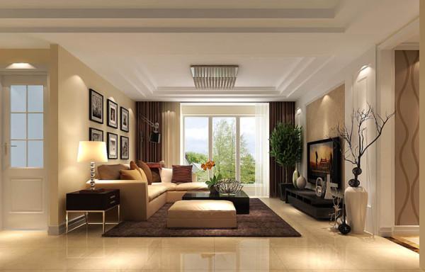 客厅是主人品味的象征,体现了主人品格,地位,也是交友娱乐的场合,电视背景墙采用暖色墙漆和简单装饰配上顶部照下来的灯光,整个电视背景墙把客厅提升起来