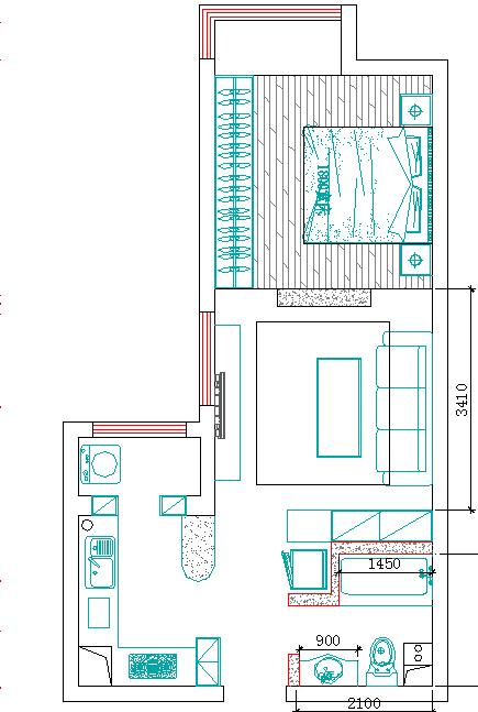 一居 白领 小资 保利花园 城市人家 户型图图片来自城市人家李浩然在保利花园3号楼1单元55平户型展示的分享